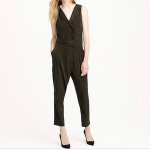 J.Crew Sleeveless Trench Jumpsuit Olive Green 2